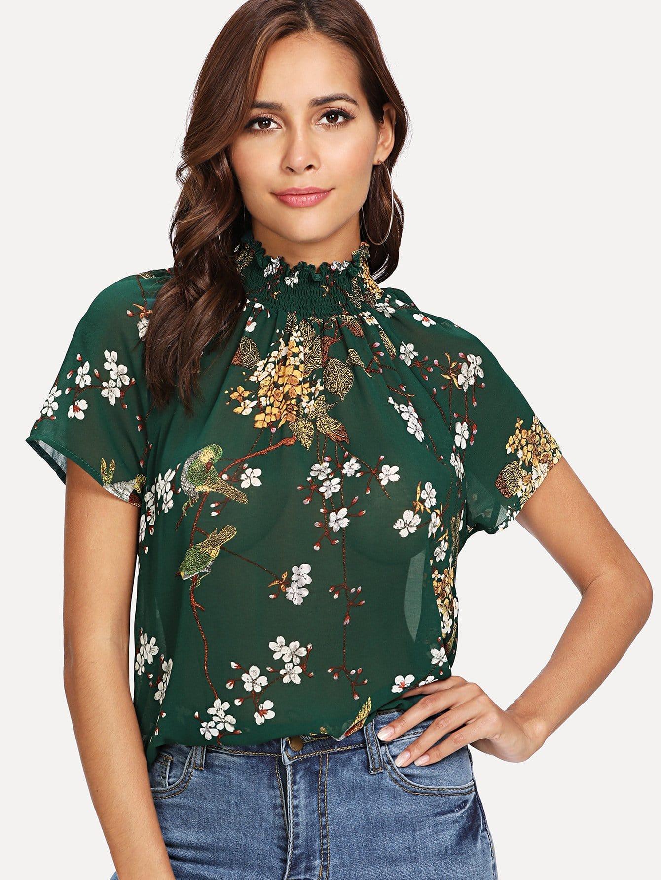 Купить Цветочная блузка со стильным воротником, null, SheIn