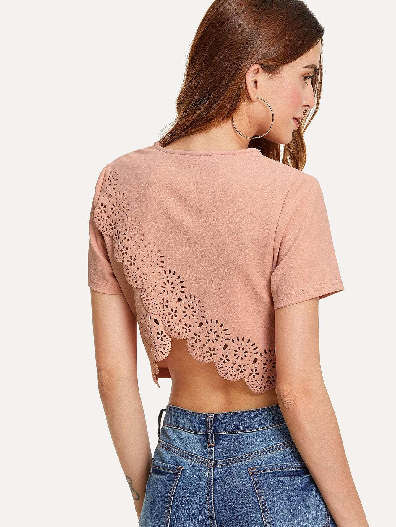 Laser Cut Scallop Trim Overlap Back Blouse scallop laser cut textured blouse