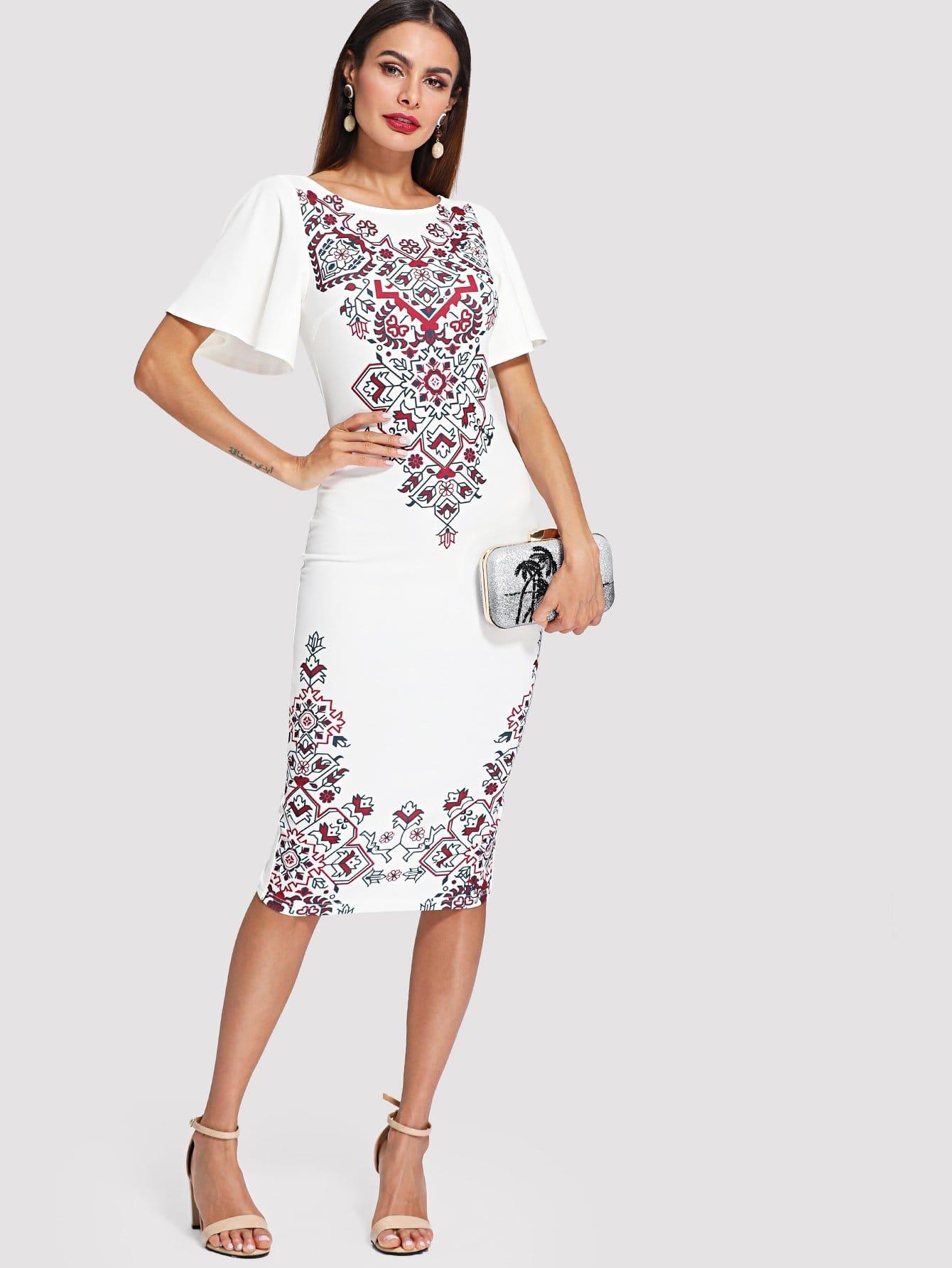 Flutter Sleeve Ornate Print Split Dress letter print split sleeve dress