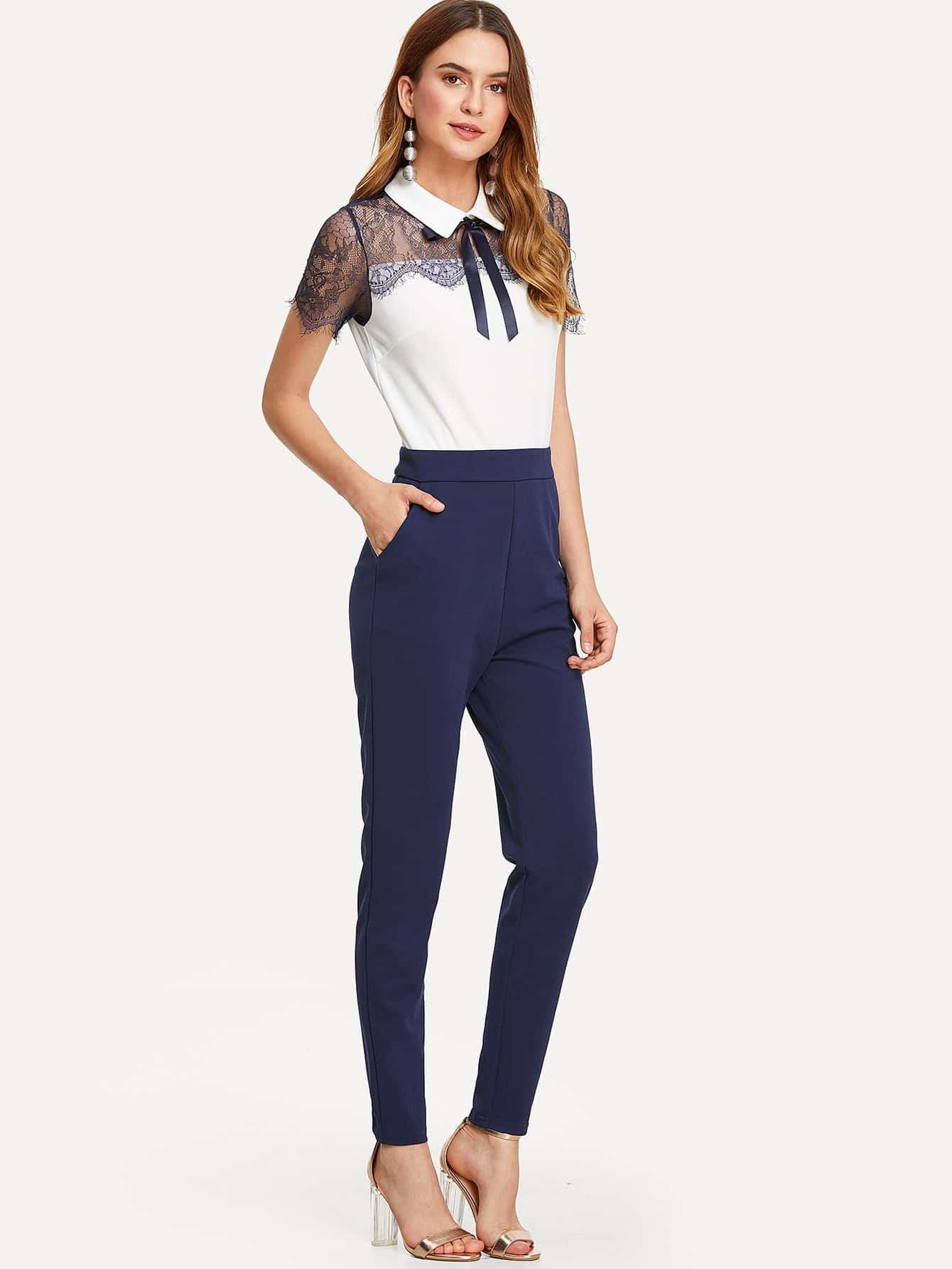 Lace Yoke Eyelash Trim Solid Jumpsuit lace trim solid top