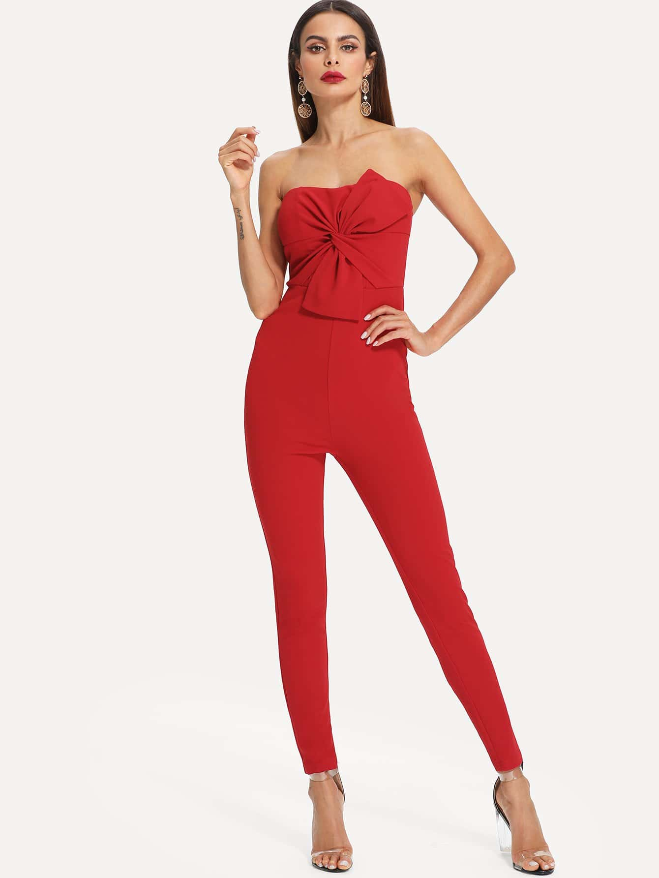 Knot Twist Front Tube Tailored Jumpsuit knot front fit