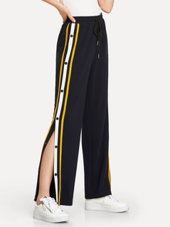 Snap Button Stripe Side Wide Leg Pants