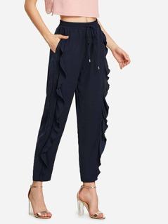 Ruffle Embellished Drawstring Solid Sweatpants