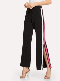 Stripe Slit Side Flare Hem Pants