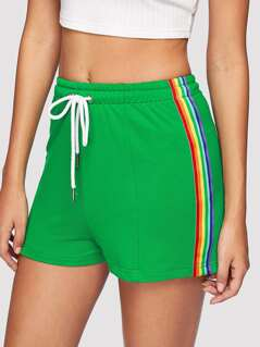 Rainbow Striped Side Drawstring Shorts