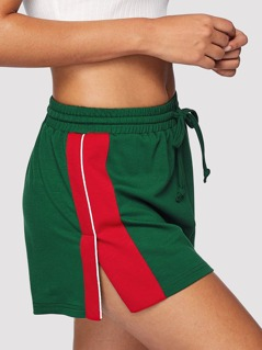 Color Block Slit Side Drawstring Shorts