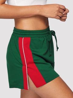 Color Block Slit Side Drawstring Shorts