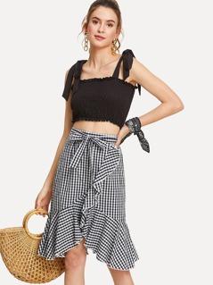 Self Belted Gingham Ruffle Trim Skirt