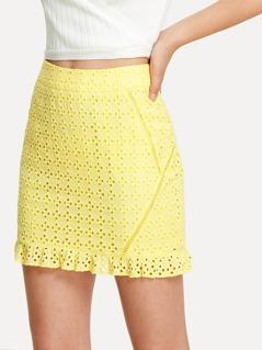 Laser Cut Insert Eyelet Embroidery Ruffle Skirt