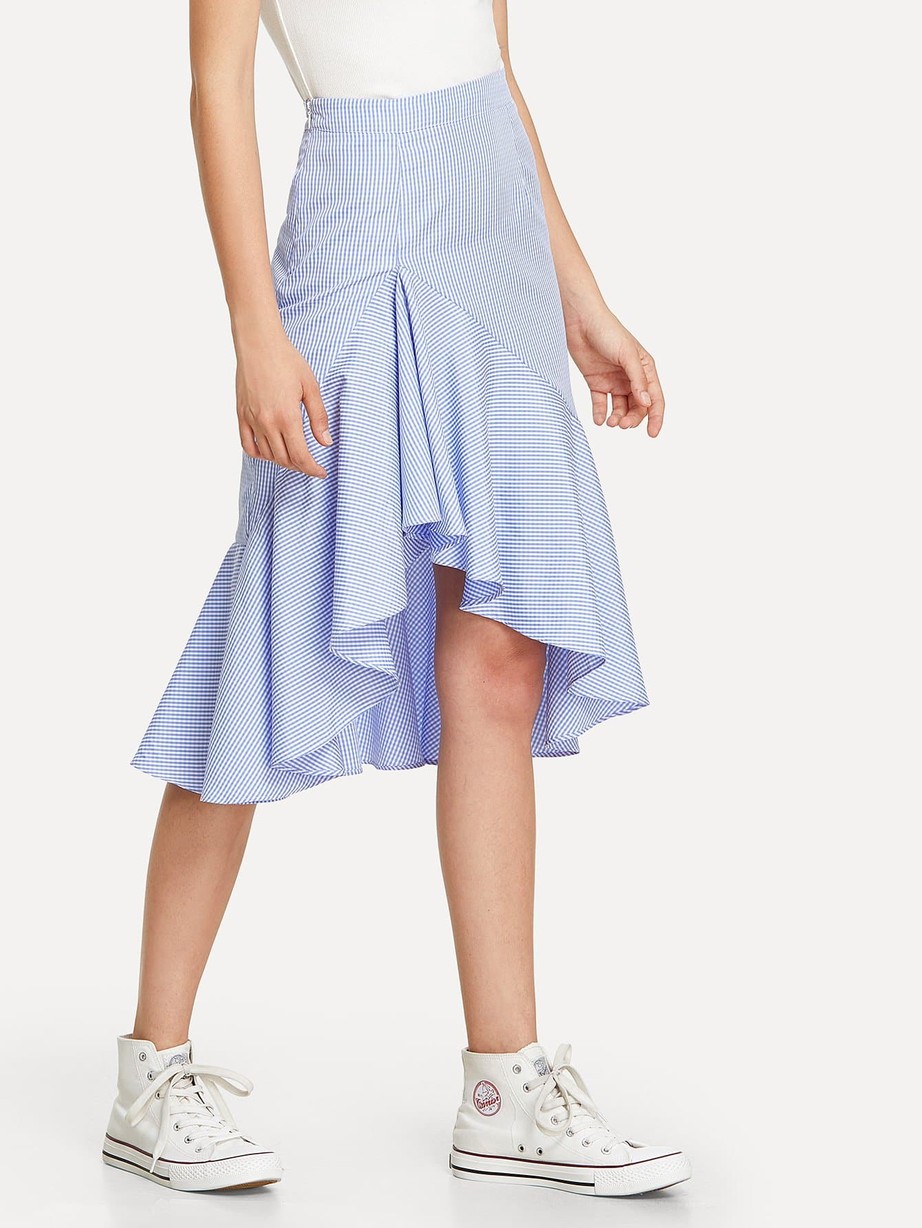 Ruffle Dip Hem Gingham Skirt ruffle hem button detail gingham skirt