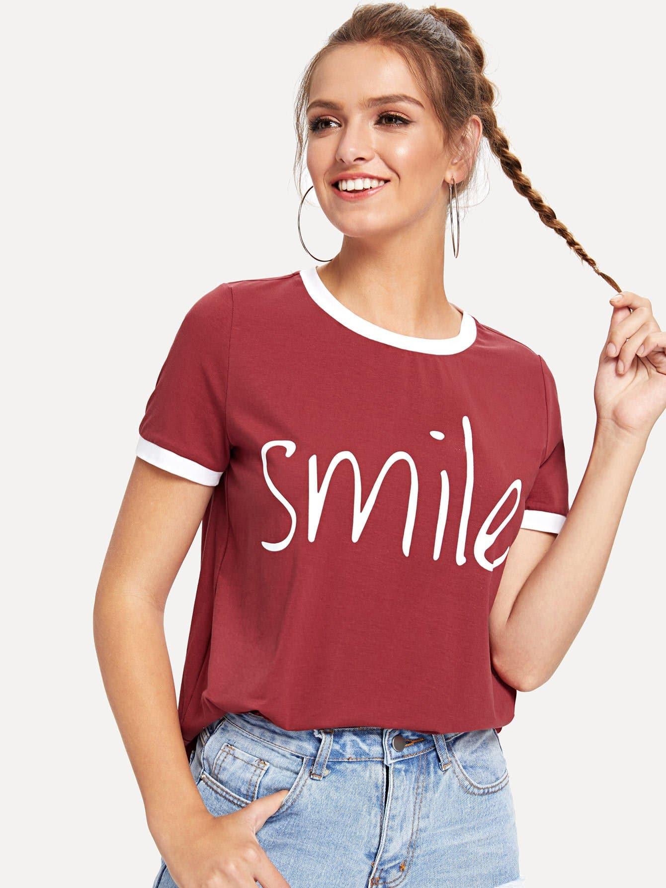 Letter Print Ringer Tee letter print ringer t shirt