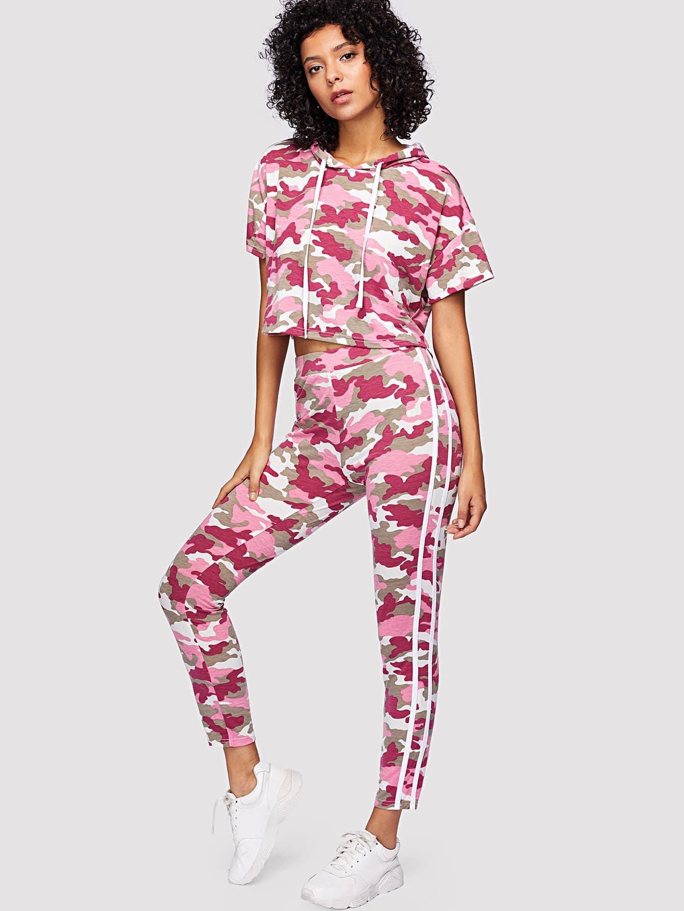 Camo Print Crop Drawstring Hoodie & Striped Leggings Set camouflage print crop leggings