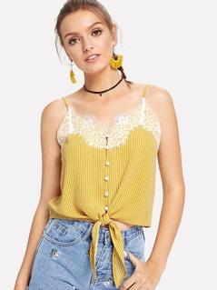Lace Applique Stripe Button Cami Top