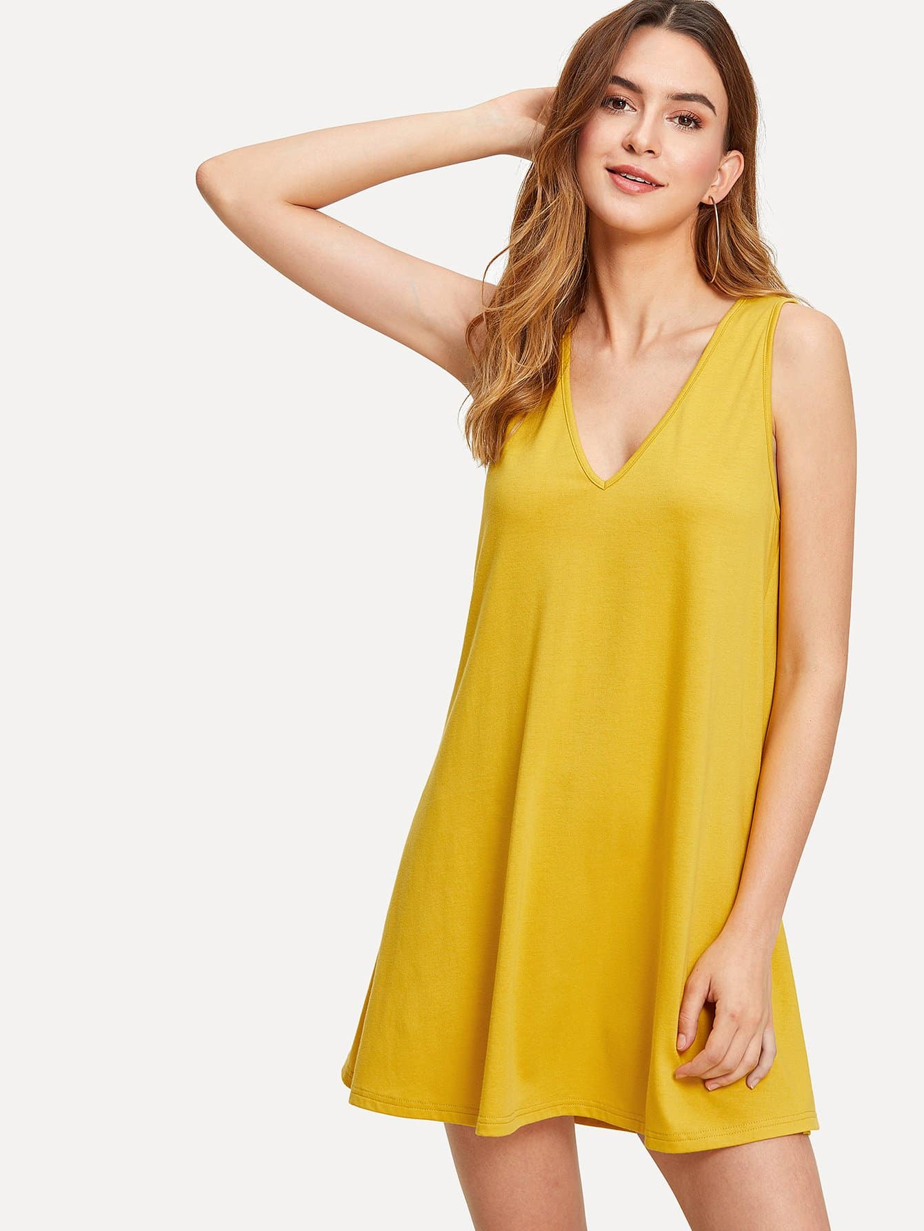 Plunging Neck Solid Dress plunging neck fit