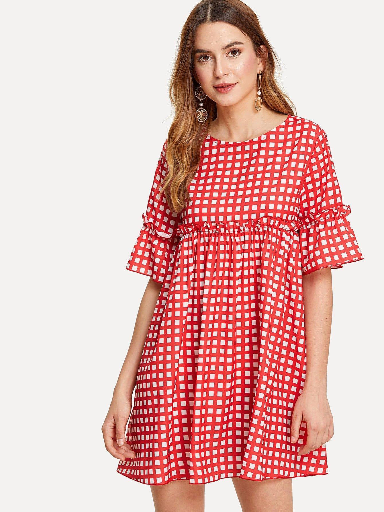 Frill Trim Flounce Sleeve Plaid Dress open shoulder frill trim plaid dress