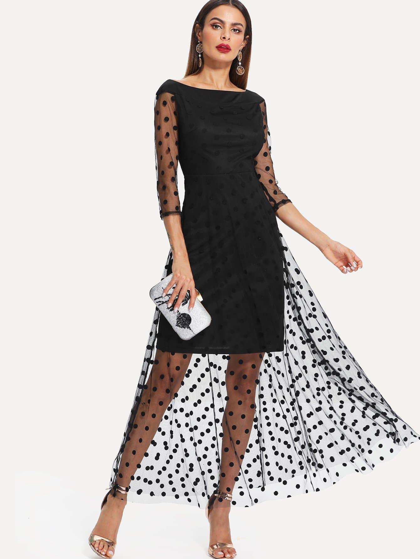 Polka Dot Mesh Overlay Dress long sleeve mesh polka dot dress