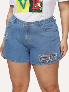 Plus Ripped Detail Denim Shorts