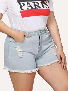 Bleach Wash Ripped Denim Shorts