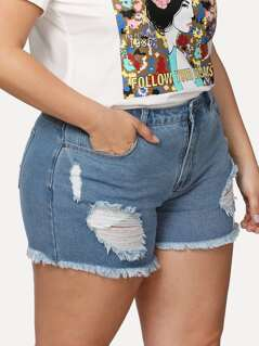 Plus Ripped Detail Raw Hem Denim Shorts