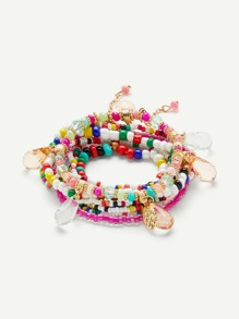 Color Block Layered Beaded Bracelet