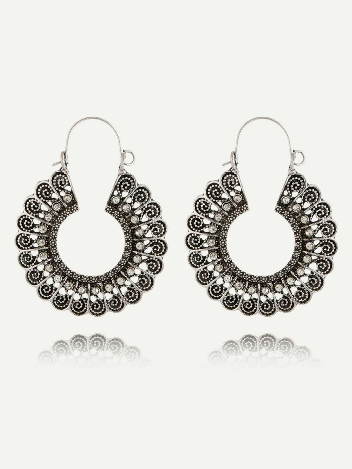 Rhinestone Hollow Hoop Earrings