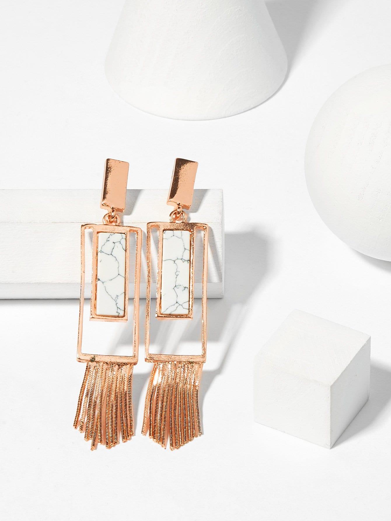 Rectangle Design Tassel Drop Earrings rectangle design drop earrings