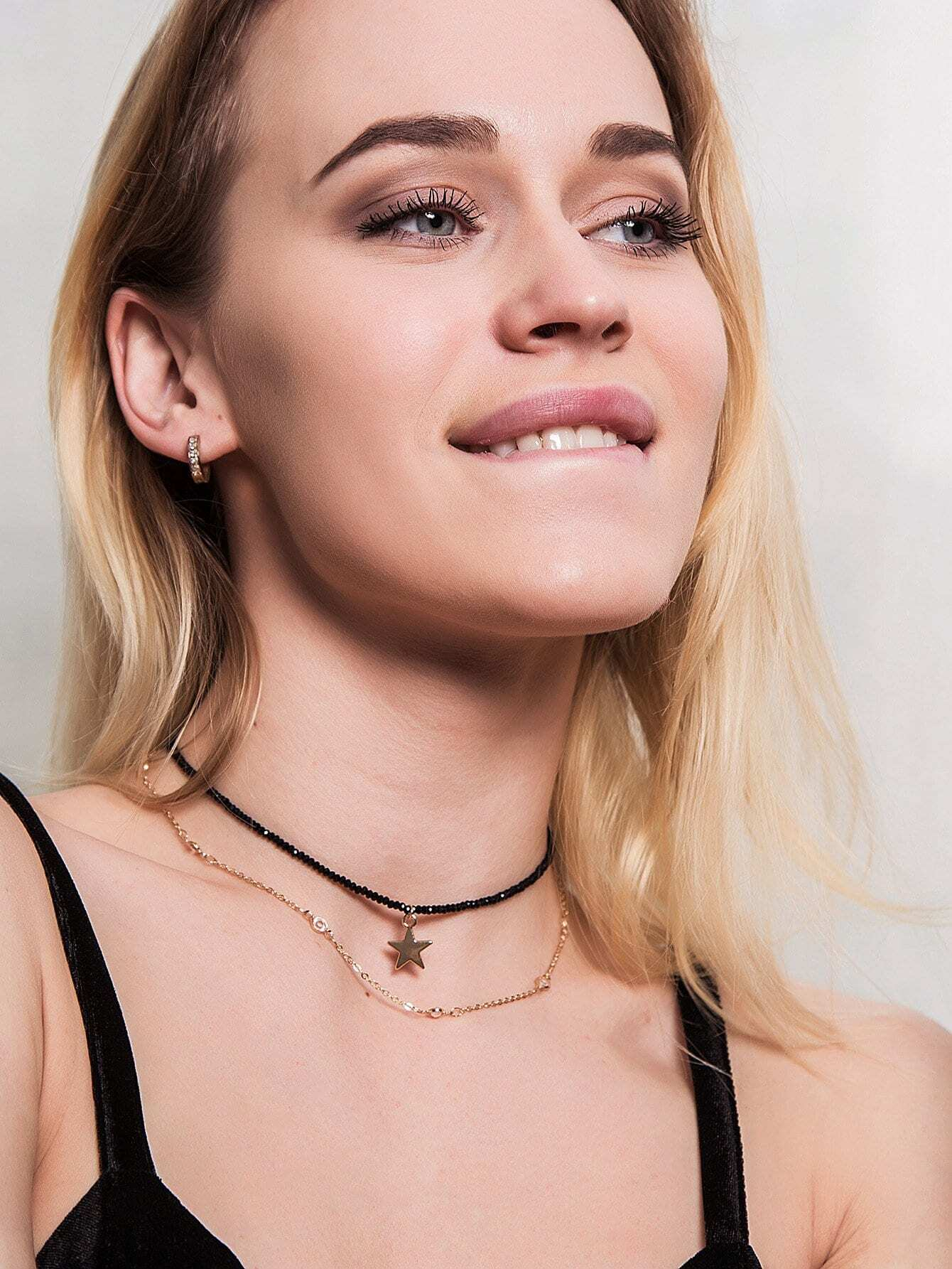 Stern Anhänger geschichtetes Halsband
