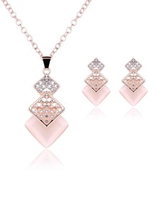 Square Pendant Necklace & Stud Earrings