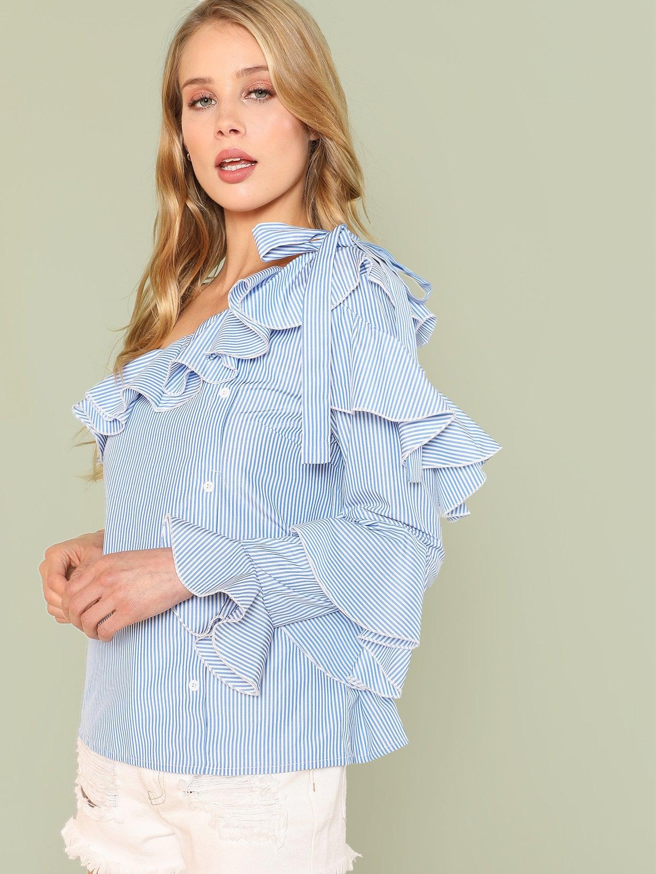 Ruffle Trim Knot Detail Asymmetrical Neck Shirt asymmetrical ruffle trim t shirt