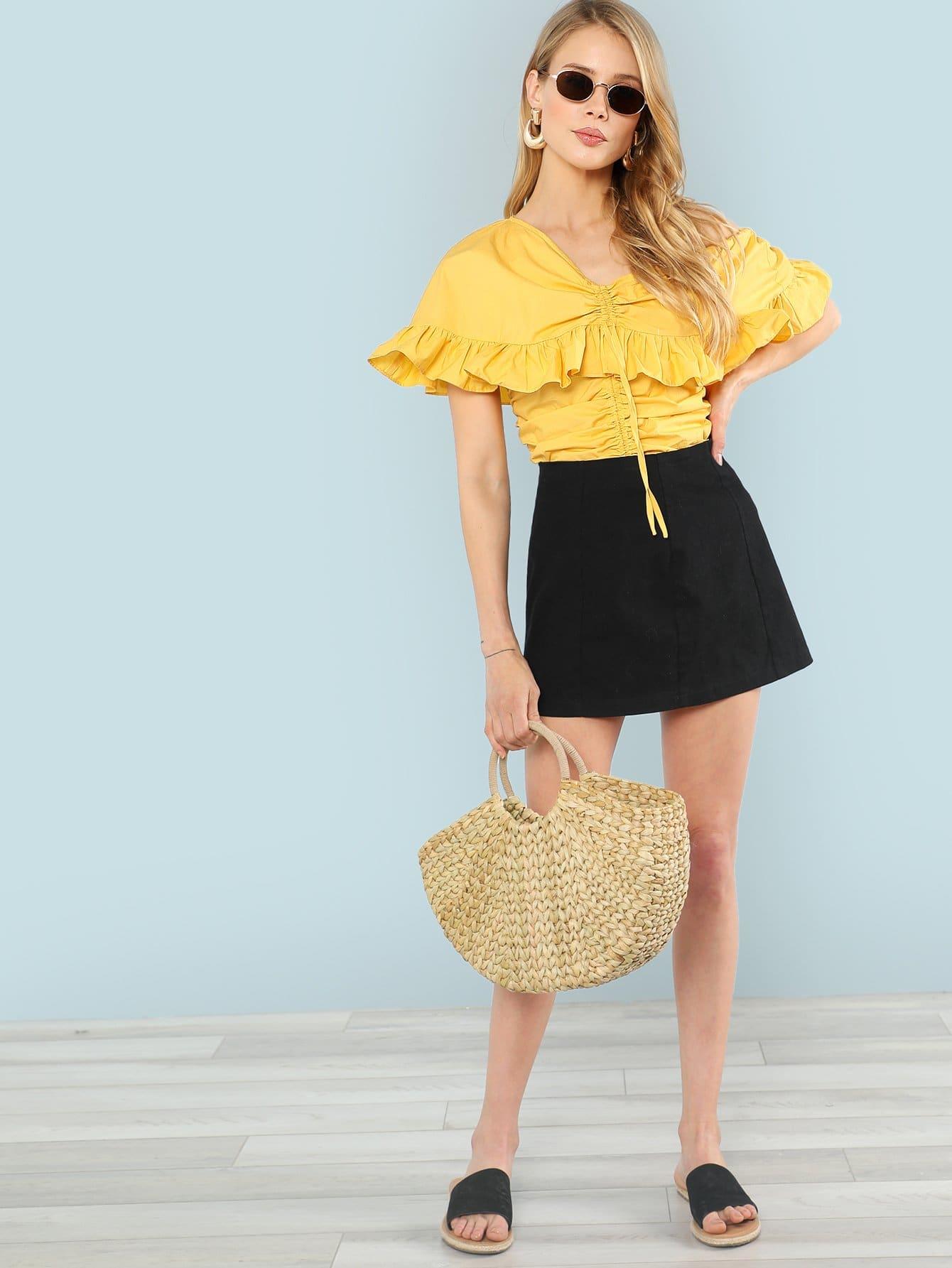 Drawstring Front Ruffle Blouse drawstring front ruffle plaid blouse