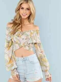Cross Wrap Shirred Floral Bardot Top