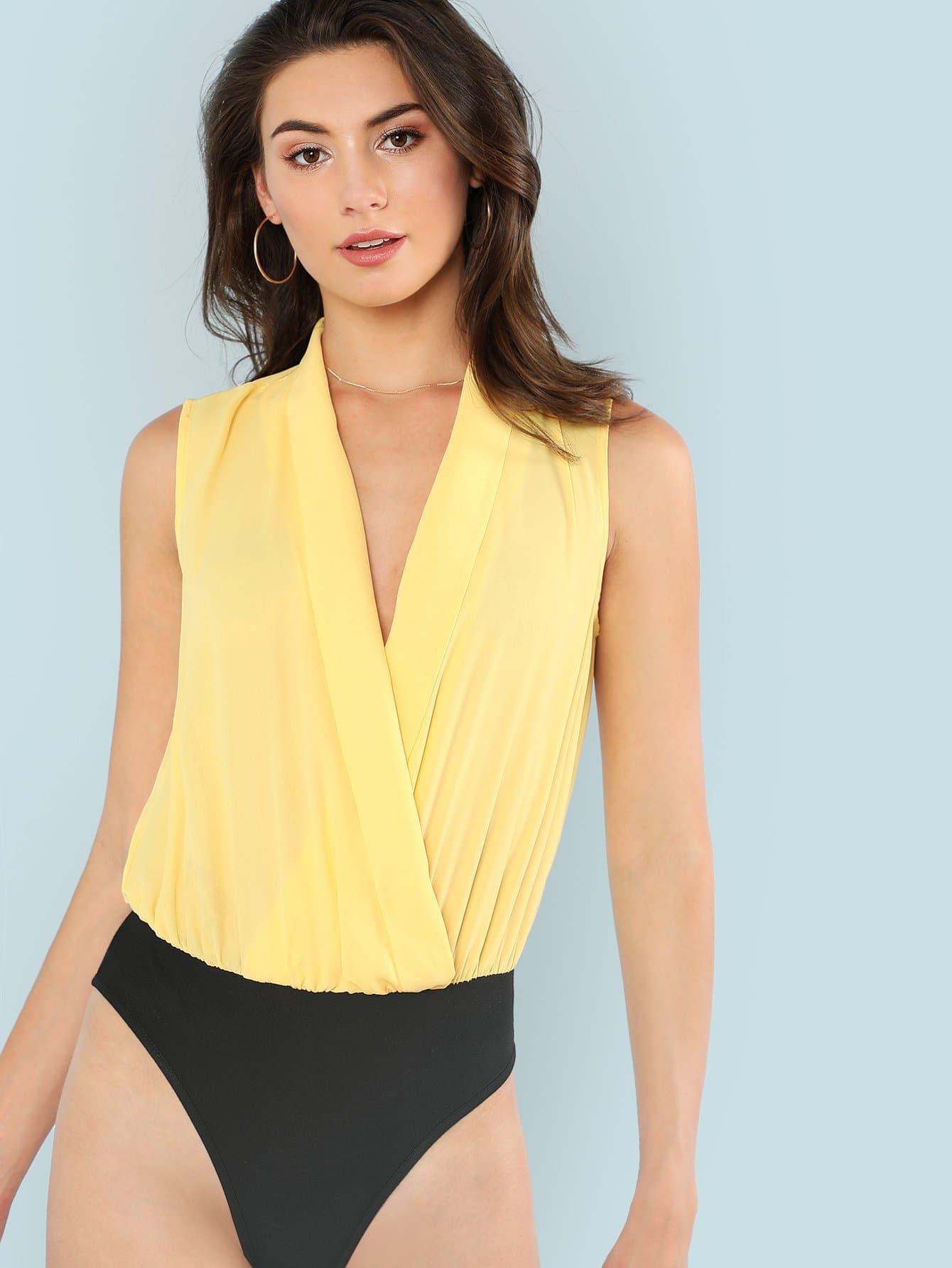 Two Tone Shawl Collar Wrap Bodysuit mandarin collar two tone shirt