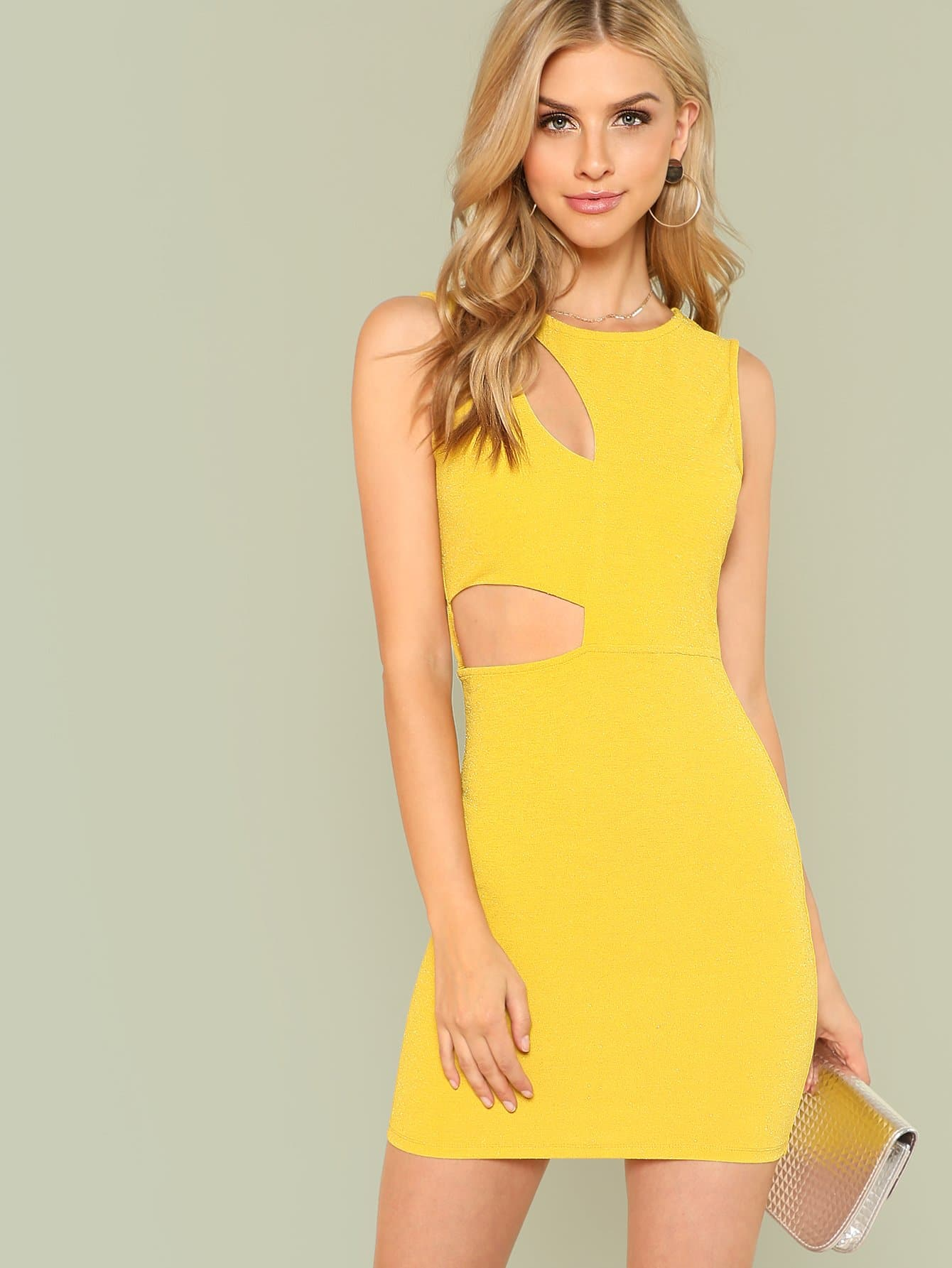 Cut Out Detail Glitter Dress cut out detail fit and flared sleeveless dress