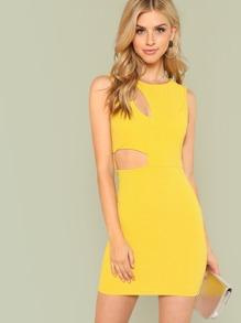 Cut Out Detail Glitter Dress
