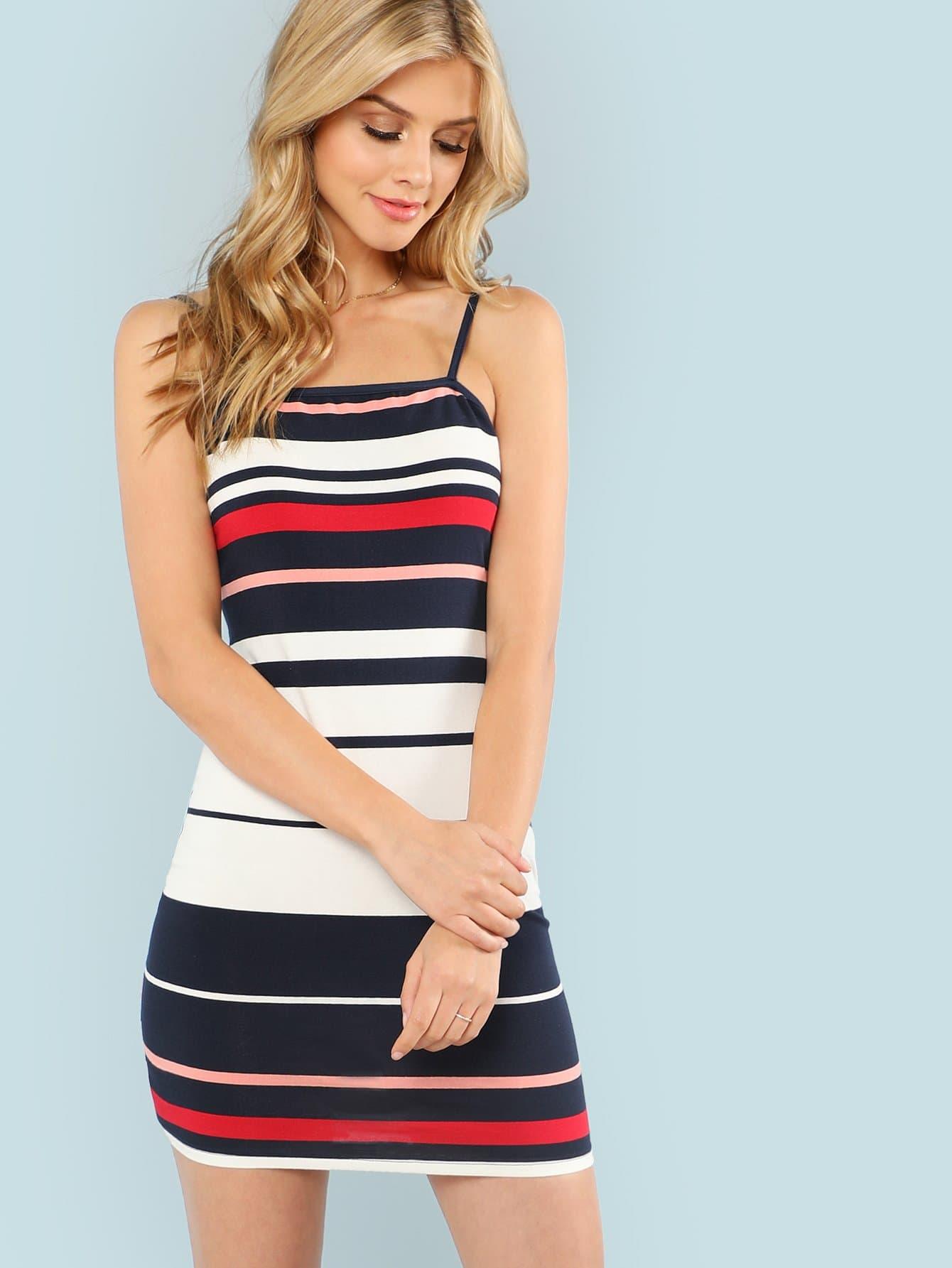 Color Block Cami Dress striped print color block cami dress