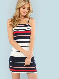 Color Block Striped Cami Dress