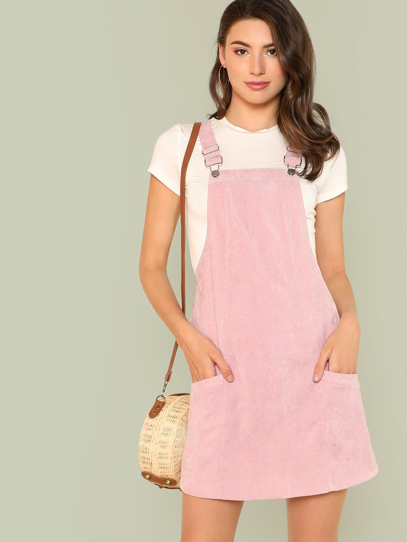 Pocket Patched Solid Overall Dress solid overall dress
