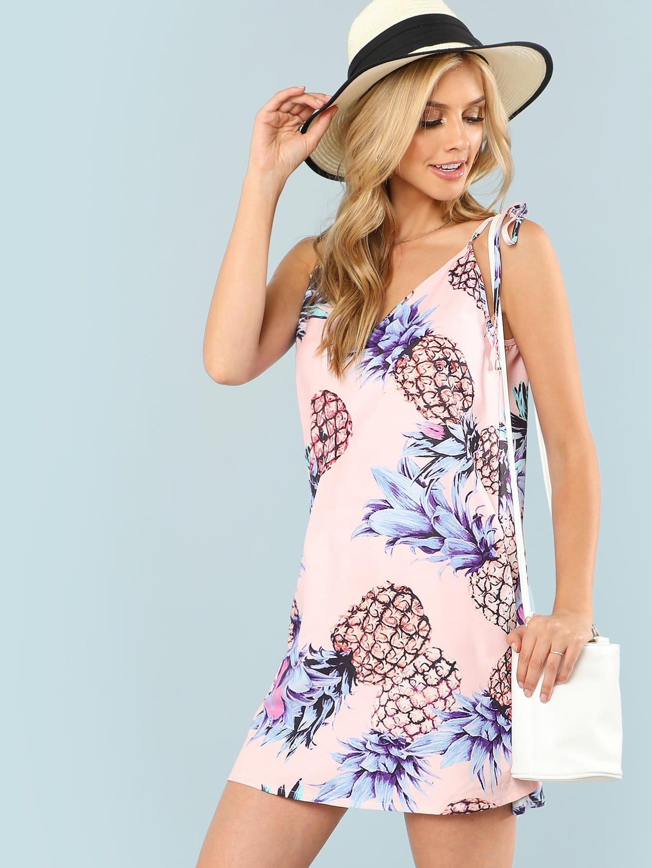 Pineapple Print Cami Dress pineapple print smock cami dress