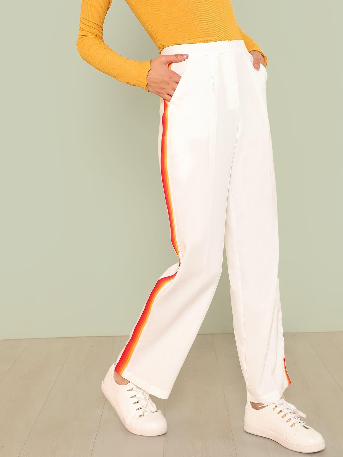Slant Pocket Striped Tape Side Pants striped tape side cuffed pants