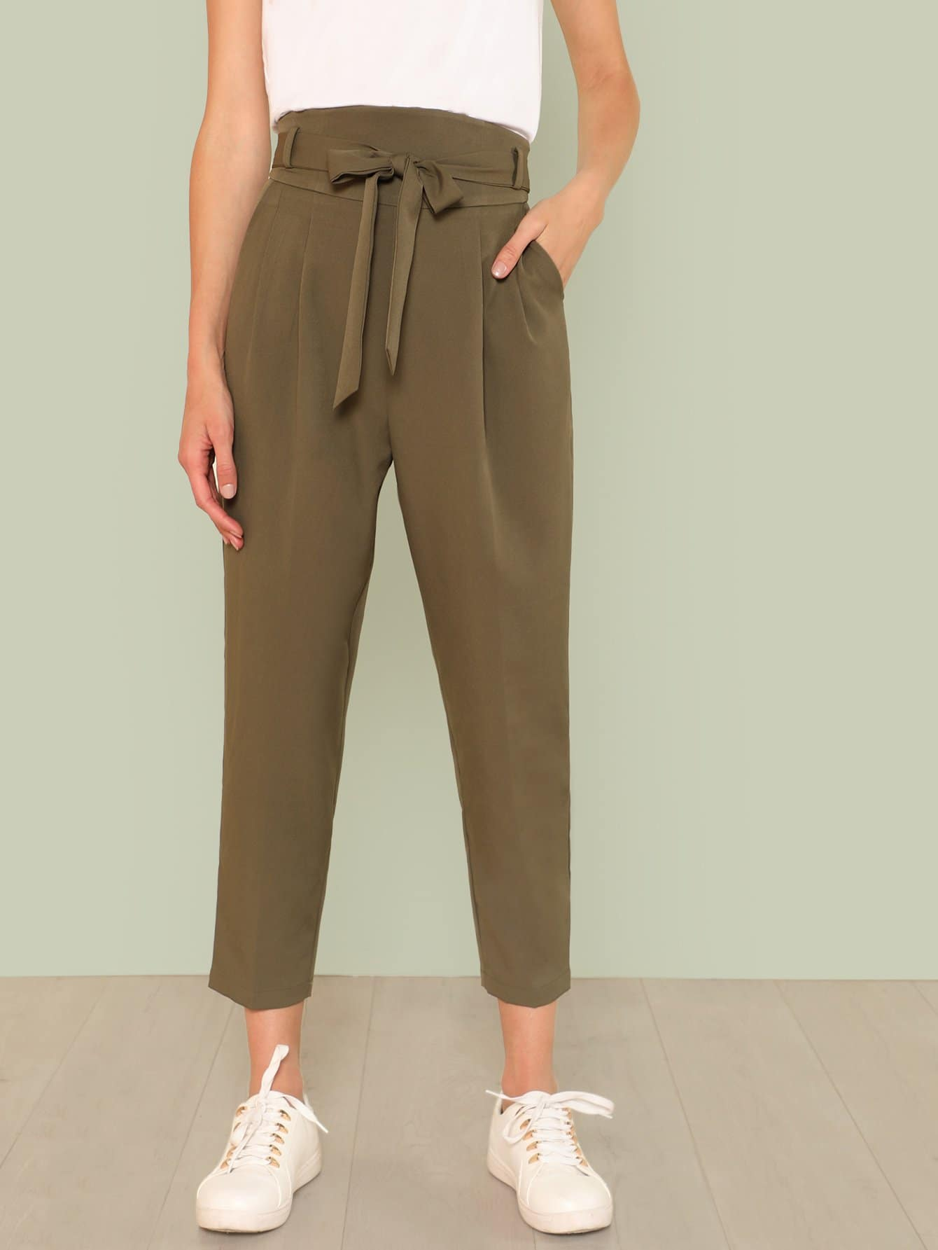 Belted High Waist Pleated Tapered Pants ruffle waist belted peg pants