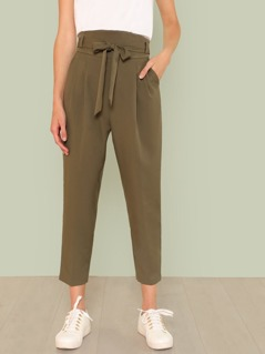 Belted High Waist Pleated Tapered Utility Pants