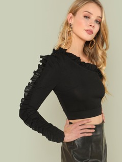 One Shoulder Frill Detail Tee