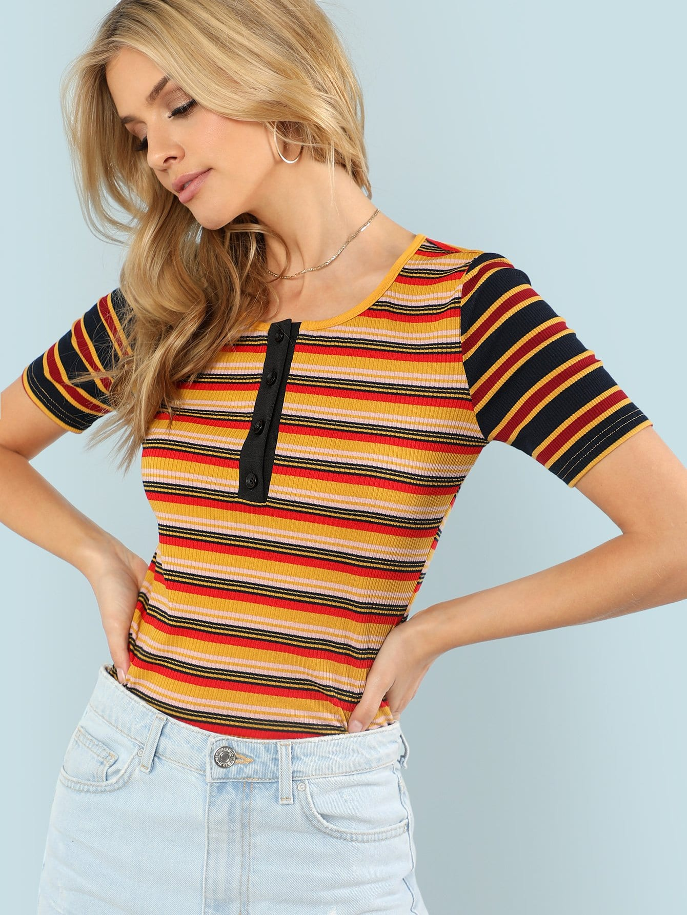 Button Front Striped Rib Knit Tee button front rib knit top