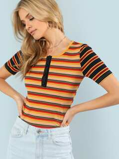 Button Front Striped Rib Knit Tee