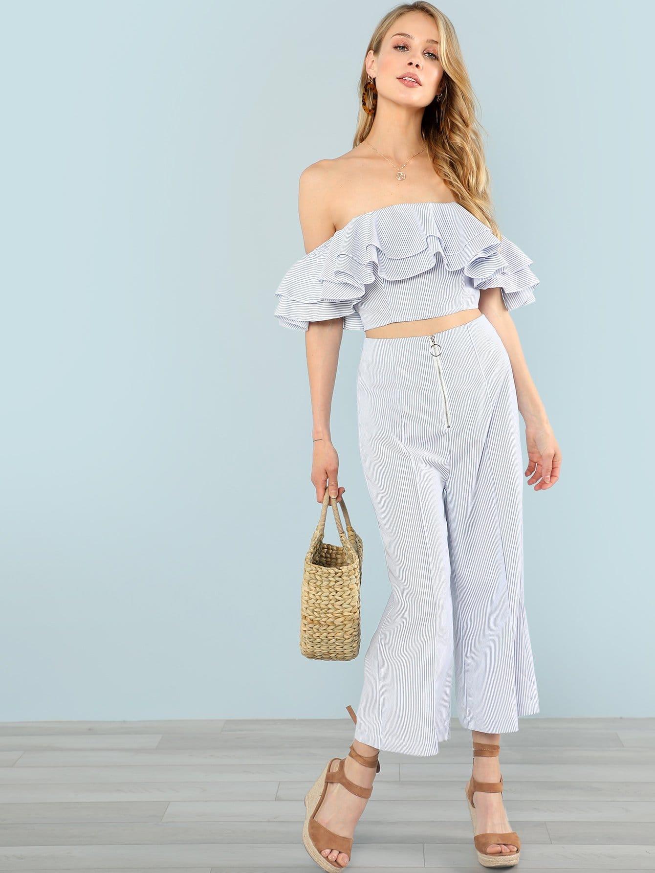 Купить Комплект топ бандо с оборками и широкие брюки, Allie Leggett, SheIn