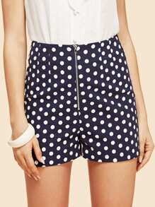 Polka Dot Zipper Up Shorts