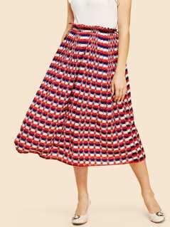 Dot Print Flare Skirt