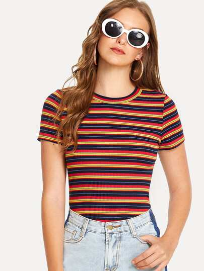 Striped Rib Kint Tee