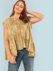 V Neck Solid Flowy Tee