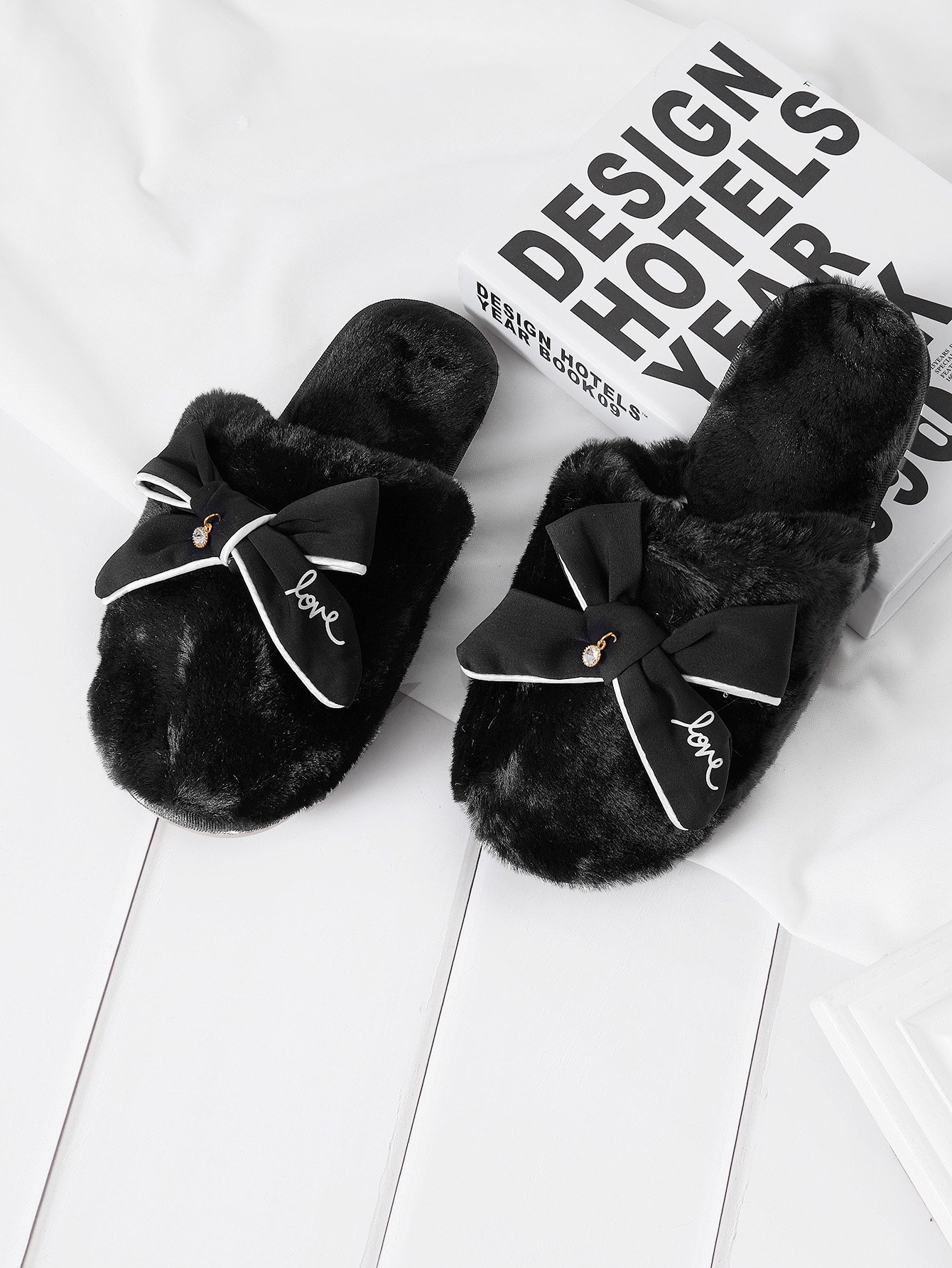 Bow Tie Faux Fur Slippers